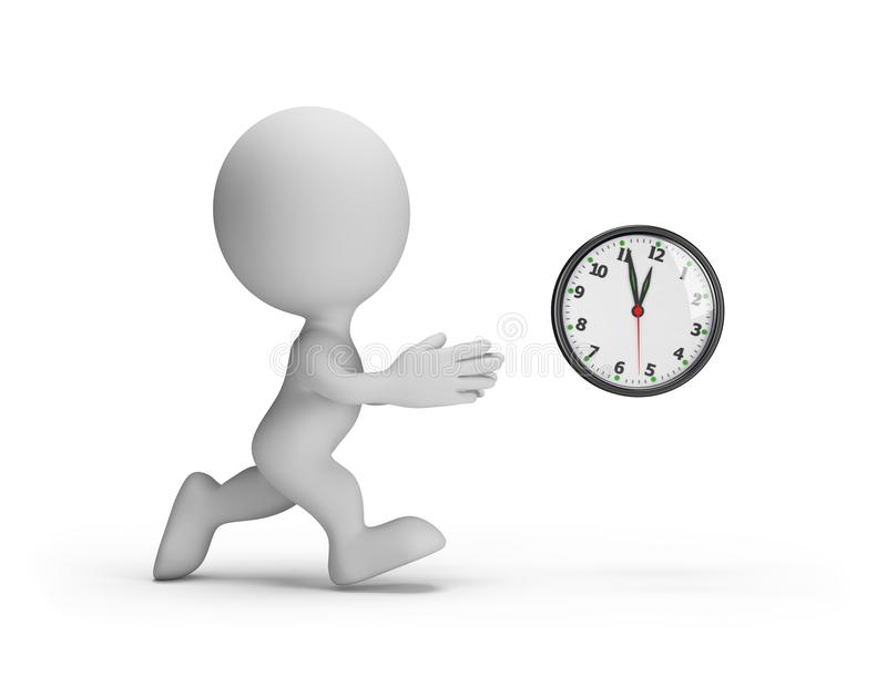 3d man is catching up with time royalty free illustration