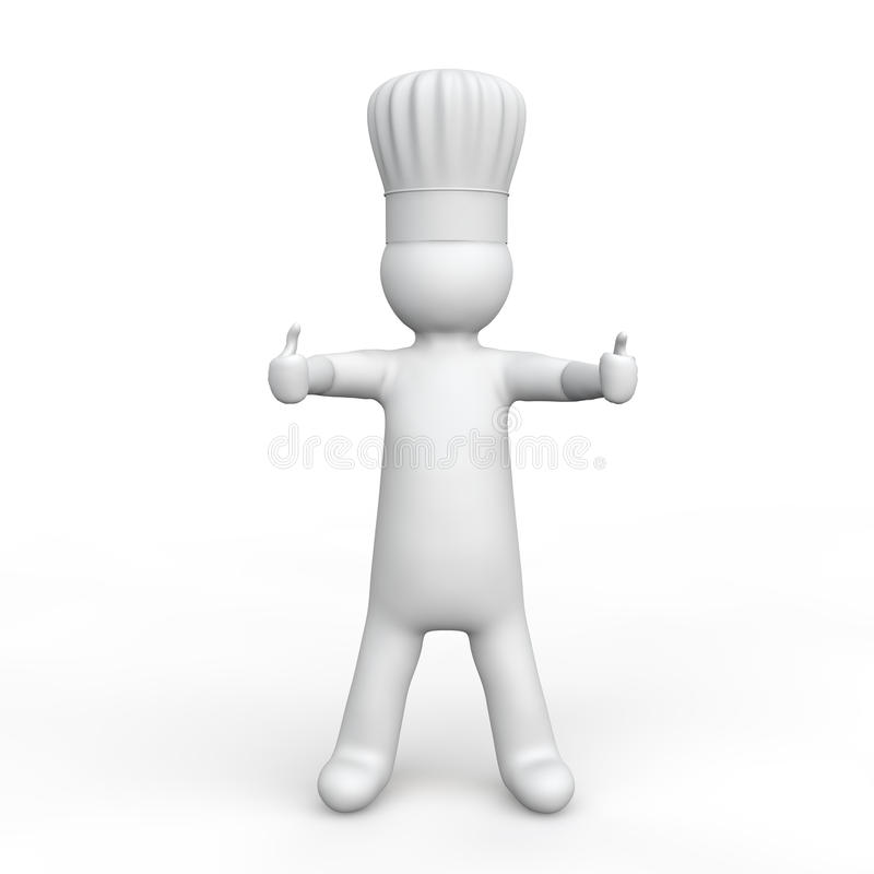 3d man with chef hat giving two thumbs up royalty free stock photos