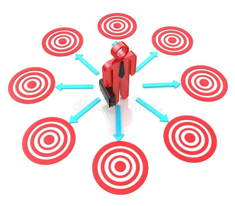 3d man chooses a target stock illustration