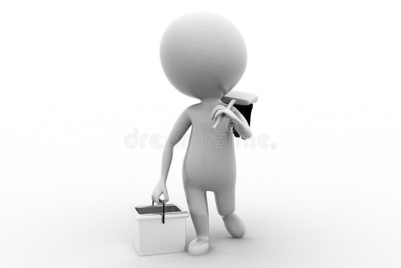 Download 3d Man Clean Concept stock illustration. Image of broom - 43529496