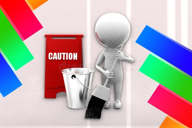 3d Man Cleaning Caution Illustration Stock Illustration