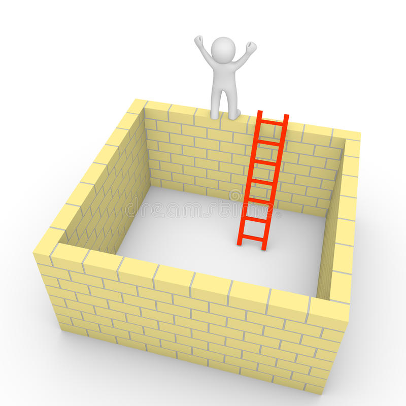 3d man climbed on the brick wall of isolated room. 3d render vector illustration