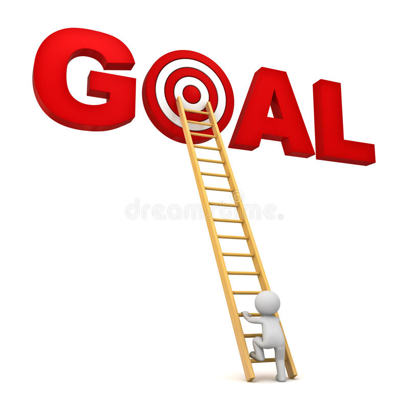 Download 3d Man Climbing Ladder To The Red Target In Word Goal Over White Background Stock Illustration - Image: 34278310