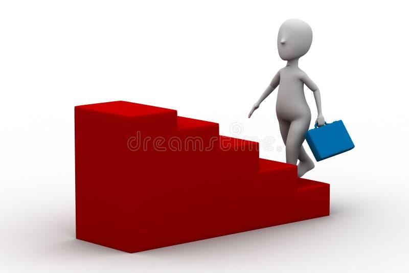 3d man climbing on a step vector illustration
