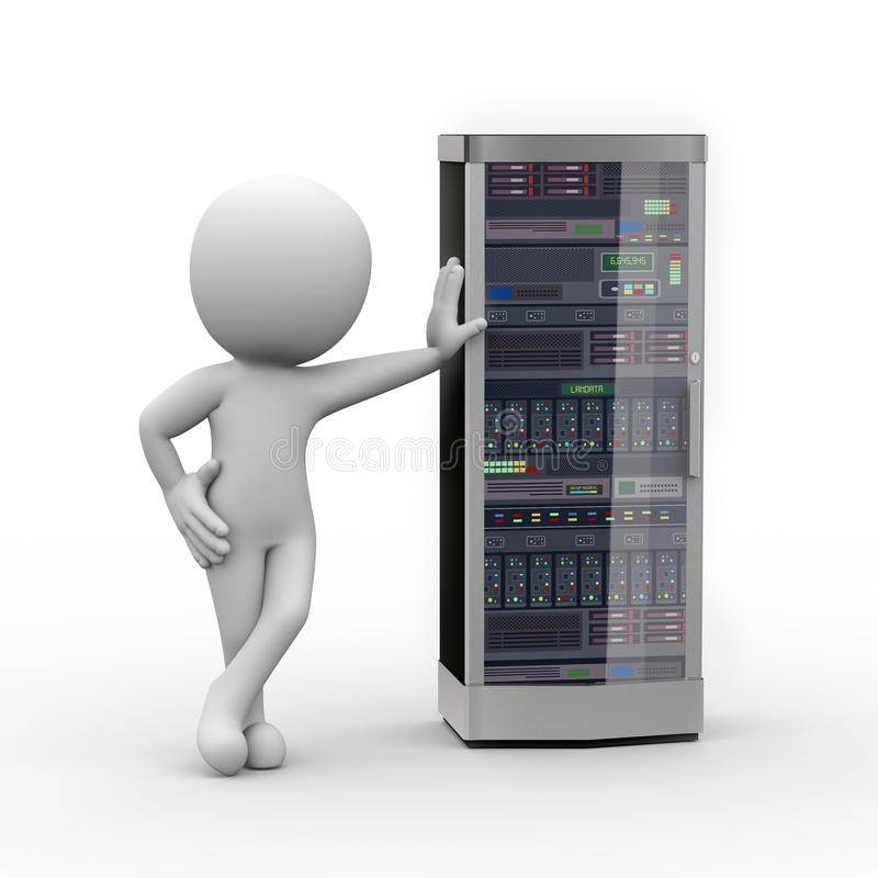 3d man with computer network server. 3d rendering of man standing with powerful network computer server system machine. 3d white person people man stock illustration