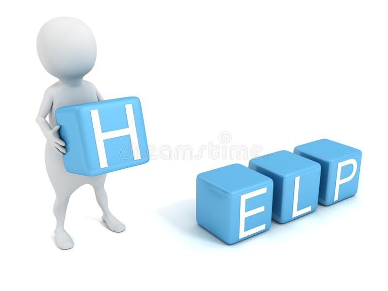 3d man with concept HELP text blue toy blocks royalty free illustration