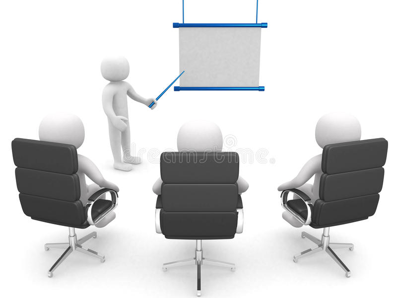 3d man, conference, standing near a blank board royalty free illustration