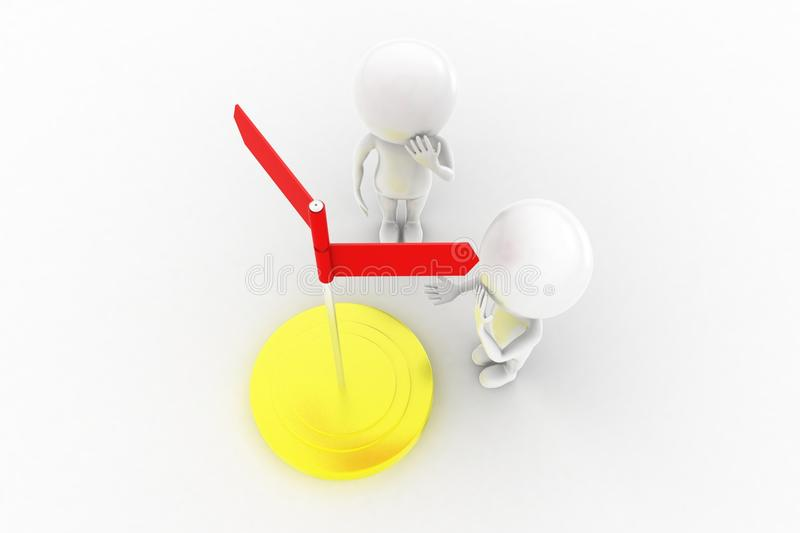 3d Man Confusing Direction  Concept Stock Illustration
