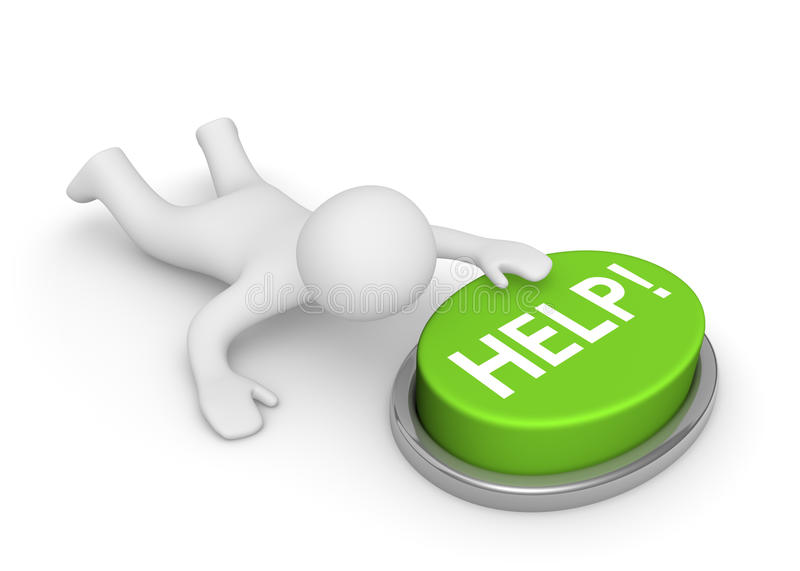 3d man crawling to the help button. Computer generated image stock illustration