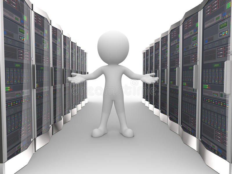 3d man in data computer network server. 3d rendering of man with welcome gesture in network computer data server system datacenter room. 3d white person people royalty free illustration