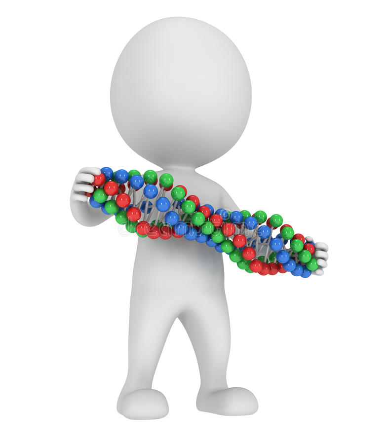 3d man with DNA chain on white. 3D render Medicine healthcare genome concept stock illustration