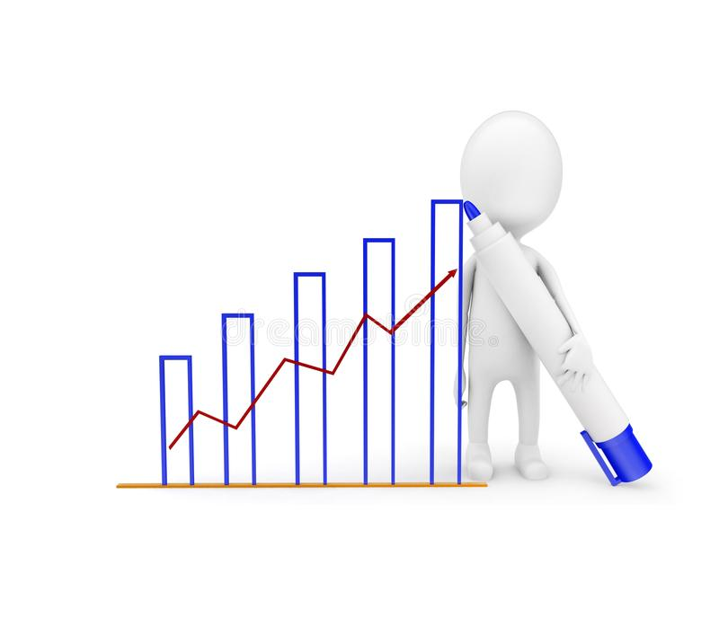 3d man draw growth graph concept vector illustration