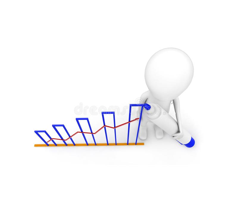 3d man draw growth graph concept stock illustration