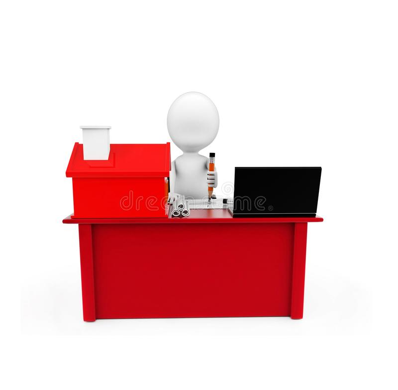 3d man drawing on paper on a desk with small model of house and. A laptop near to it concept on white background, front angle view vector illustration
