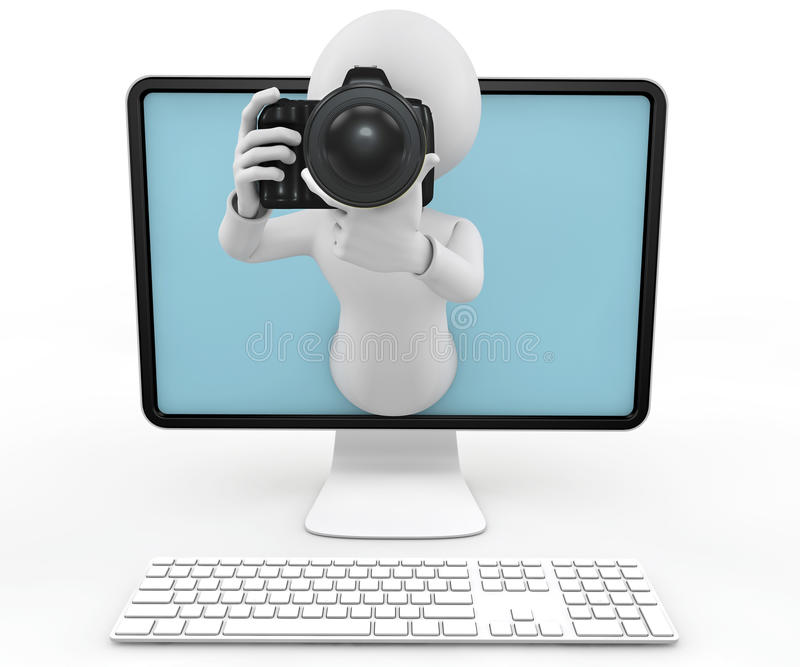 3d man with DSLR camera and computer vector illustration