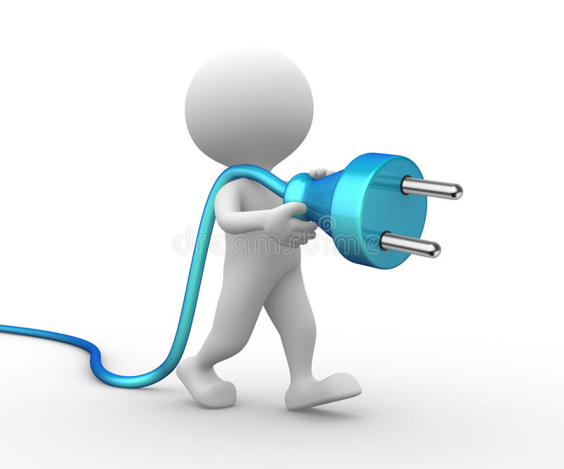 3d man with a electric plug stock illustration