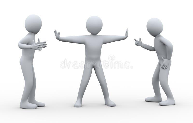 3d Man Between Fighting People Stock Photos