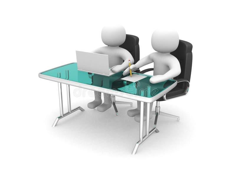 3d man - folk och en bärbar dator på ett kontor. Affärspartners vektor illustrationer