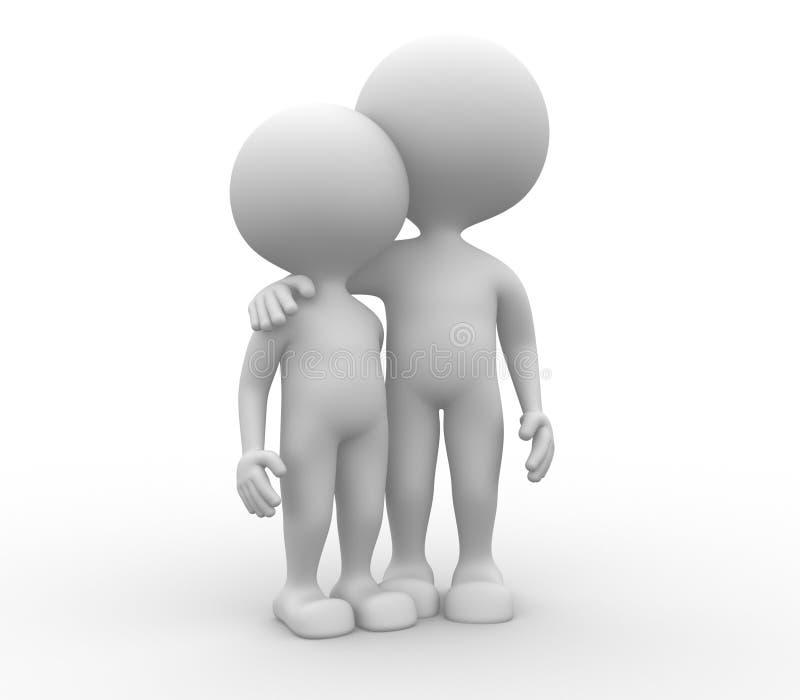3d man friends. stock illustration