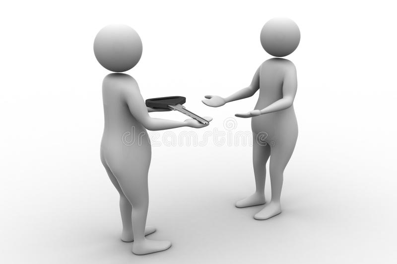 3d man giving key to another person royalty free illustration