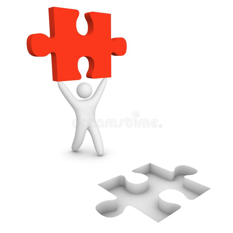 3d man go with puzzle piece stock photos