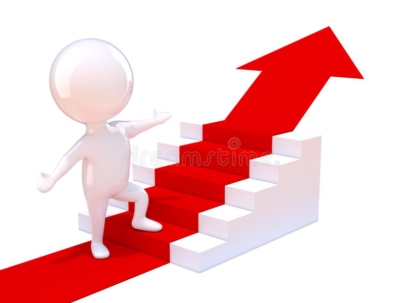 Download 3d Man goes up stairs stock illustration. Image of illustration - 39304571
