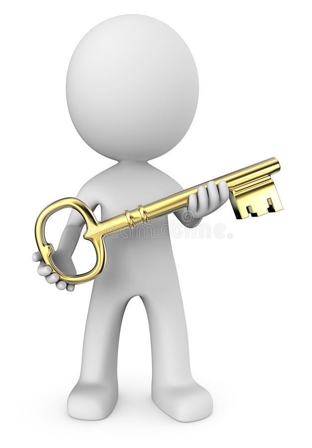 3D man with gold key vector illustration