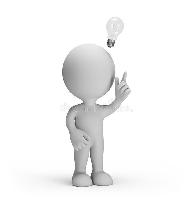 3d man got an idea. 3d man with a light bulb over his head got the idea. 3d image. White background stock illustration