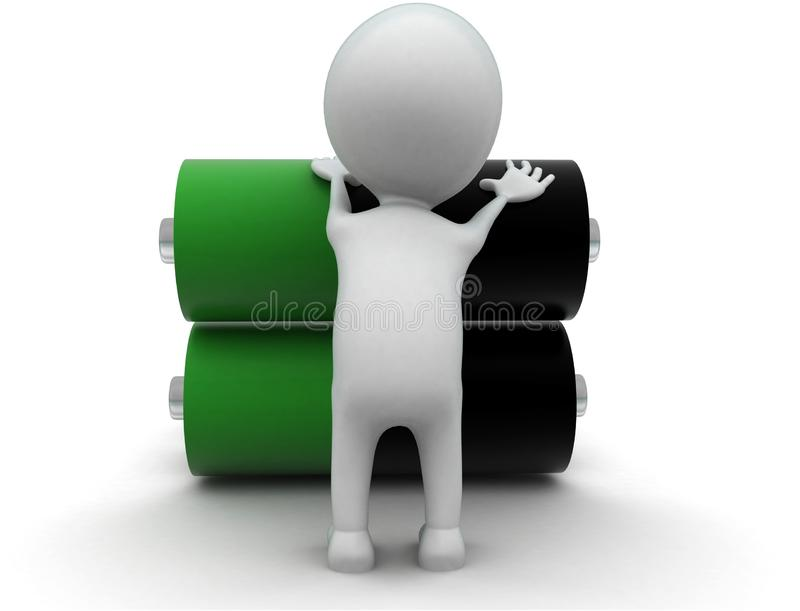 3d man with green and balck battery cells concept vector illustration