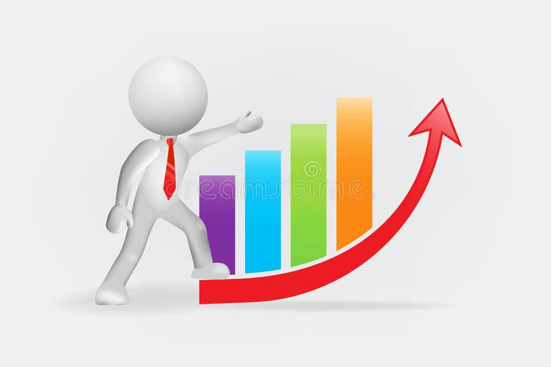 3D man and growing business bar graph chart stock illustration