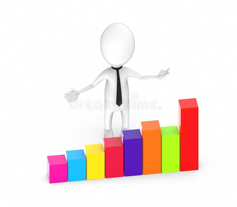 3d man growth bar concept. With white background, front angle view view stock illustration