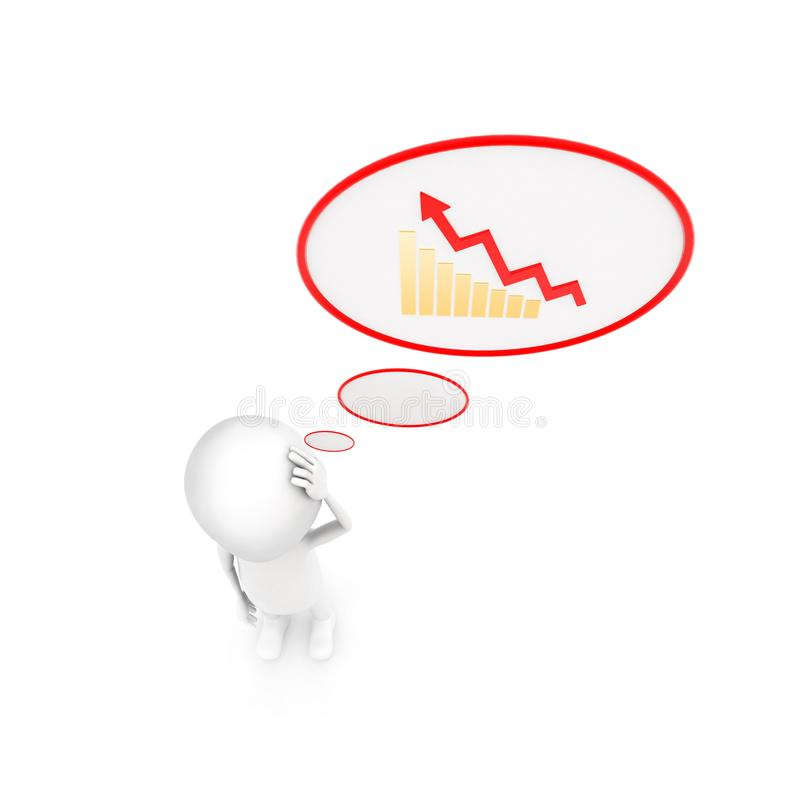3d man with growth graph in chat bubble concept royalty free illustration