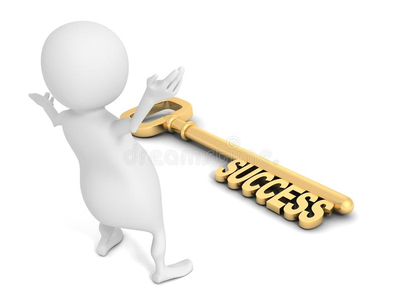 3d man happy to find success golden key. 3d royalty free illustration
