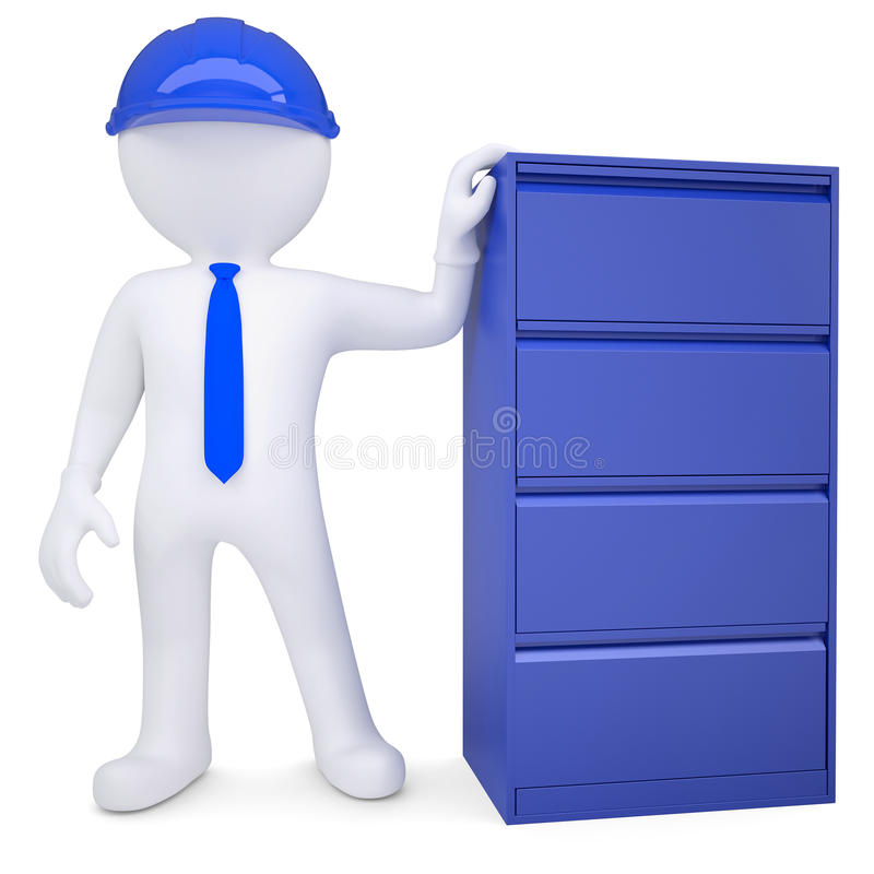 Download 3d Man In A Hard Hat Next To A Metal Cabinet Royalty Free Stock Image - Image: 31494936