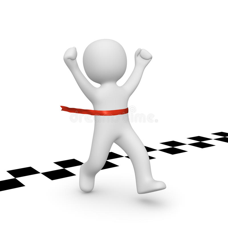 3d man has reached the finish line stock illustration