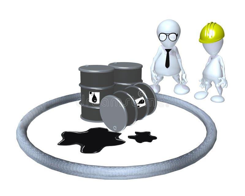 A 3d man hazardous material oil spill cleanup. Hazardous material oil spill cleanup evaluation royalty free illustration