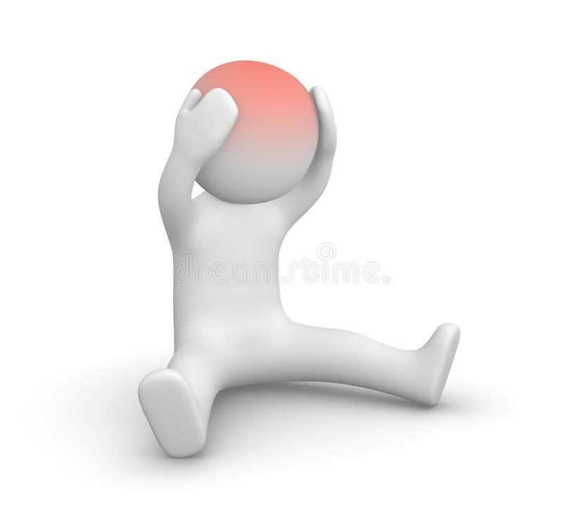 3d man with head ache royalty free illustration