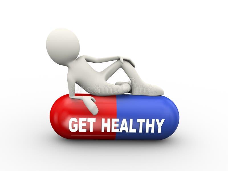 3d man on healthy pills vector illustration