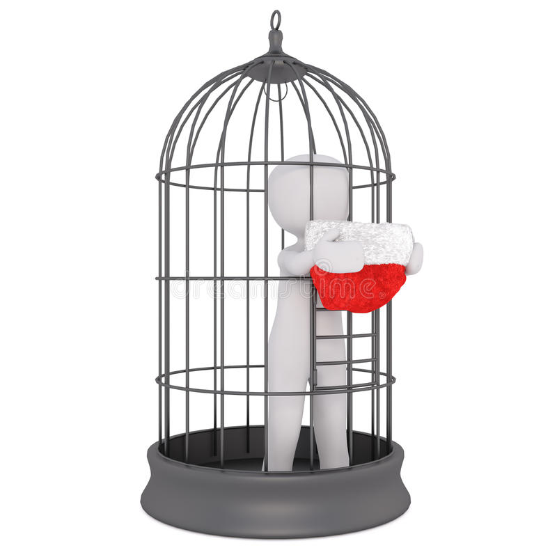 3d man held captive in a wire bird cage. Standing holding a red santa hat through the bars begging at Christmas, isolated rendered illustration on white royalty free illustration