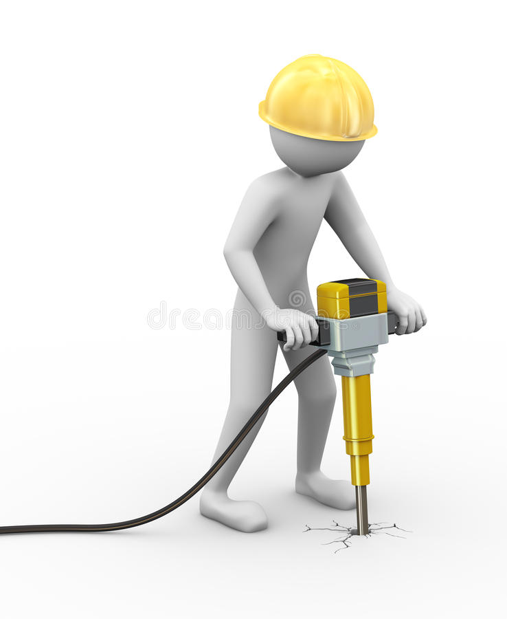 3d man with helmet and jackhammer working royalty free stock image