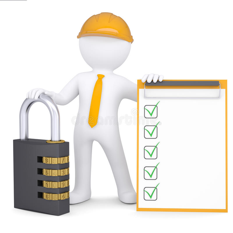 3d man in helmet with lock and checklist stock illustration