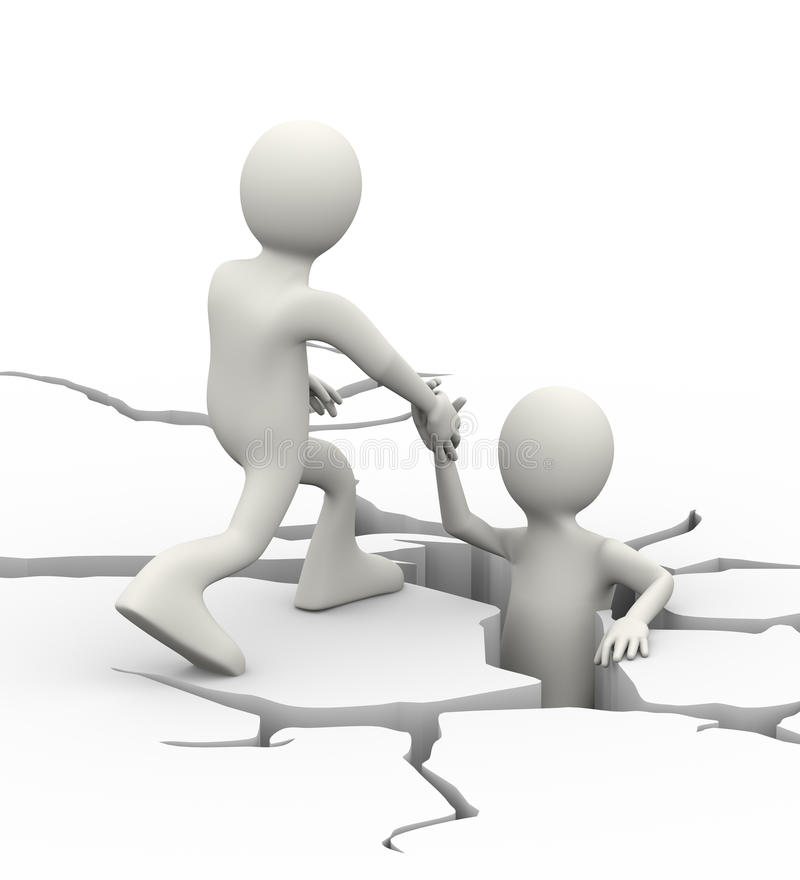 3d man helping person trap in cracked ground. 3d illustration of man helping person in the cracked ground earth. 3d human person character and white people vector illustration