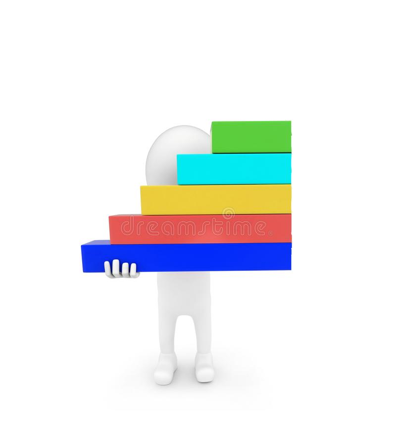 3d man holding bar graph in hand concept. On white background - 3d rendering , front angle view royalty free illustration