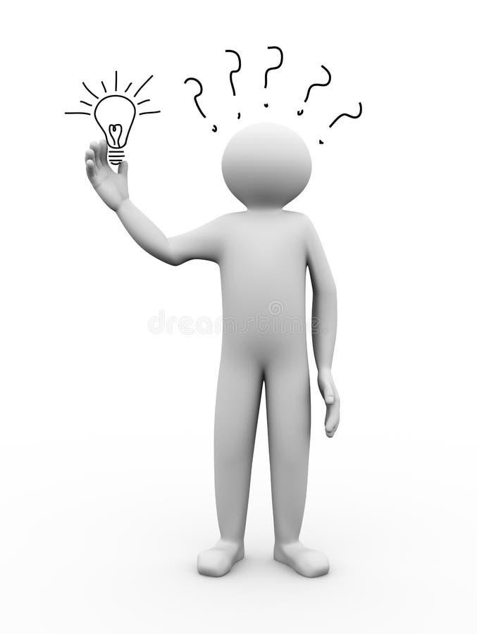 3d man holding bulb sketch stock illustration