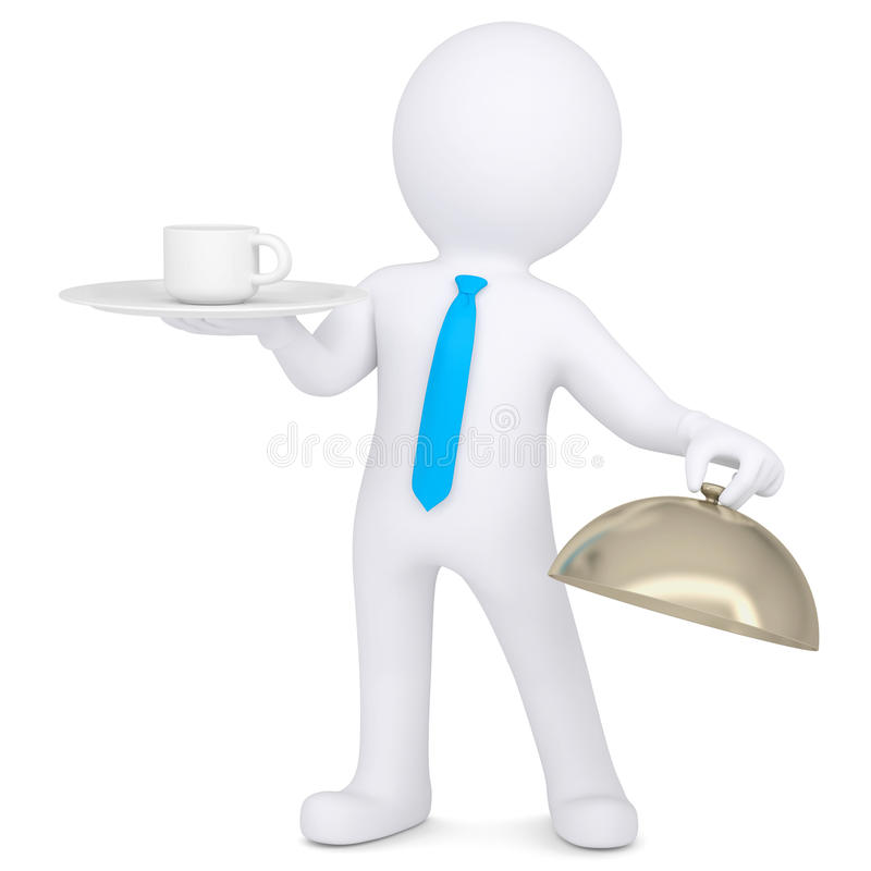 Download 3d Man Holding A Coffee Cup On A Platter Stock Images - Image: 32547614