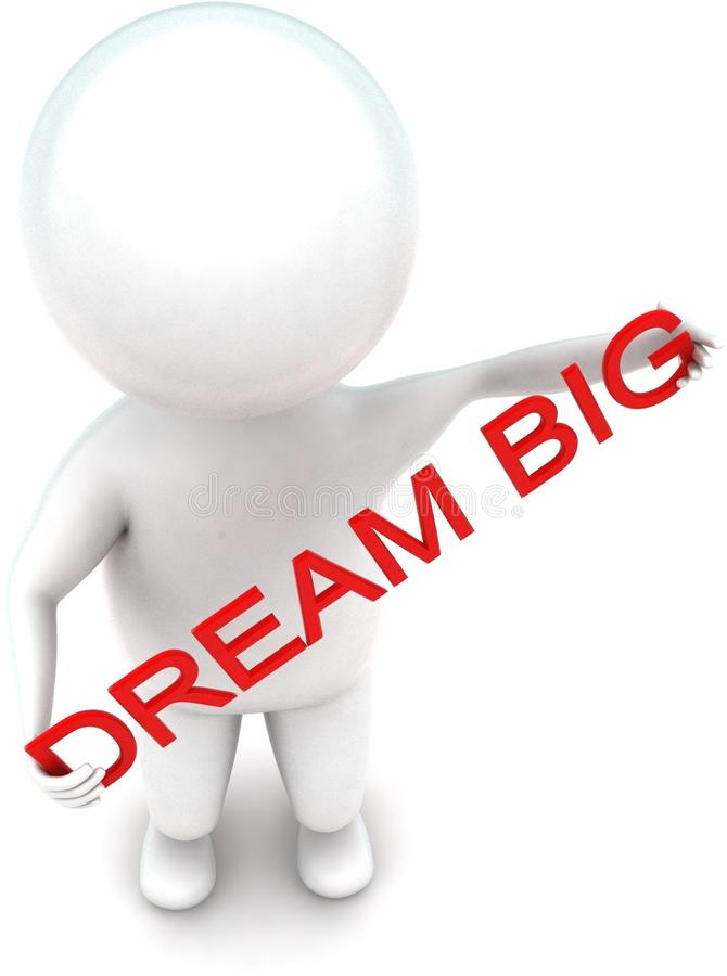 3d man holding dream big text in hands concept. In white isolated background - 3d rendering ,  top angle view vector illustration