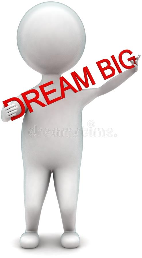3d man holding dream big text in hands concept. In white isolated background - 3d rendering ,  front  angle view vector illustration