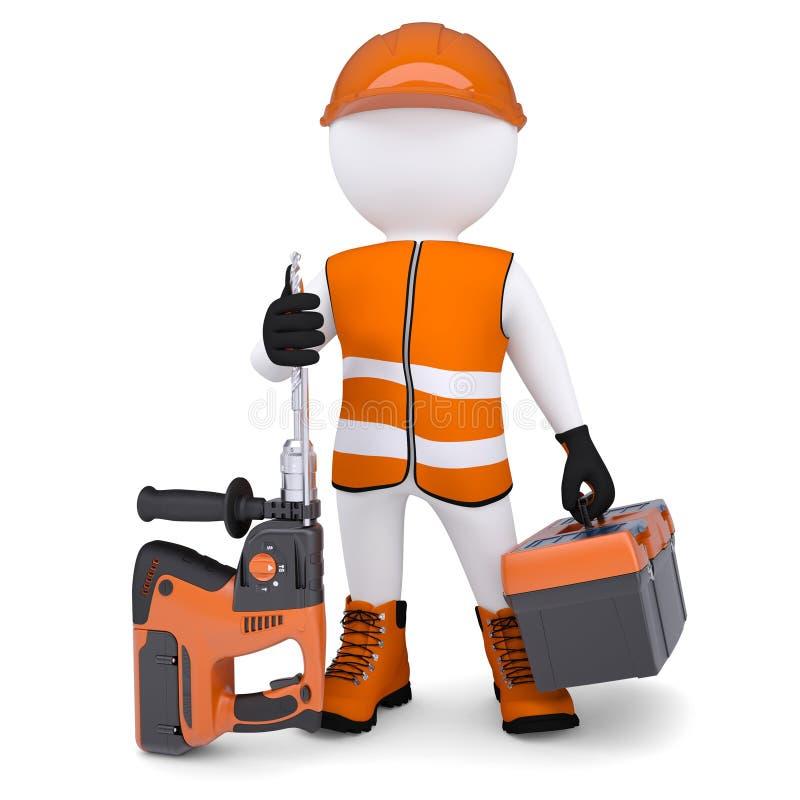 Download 3d Man Holding Electric Perforator Stock Illustration - Image: 33950392