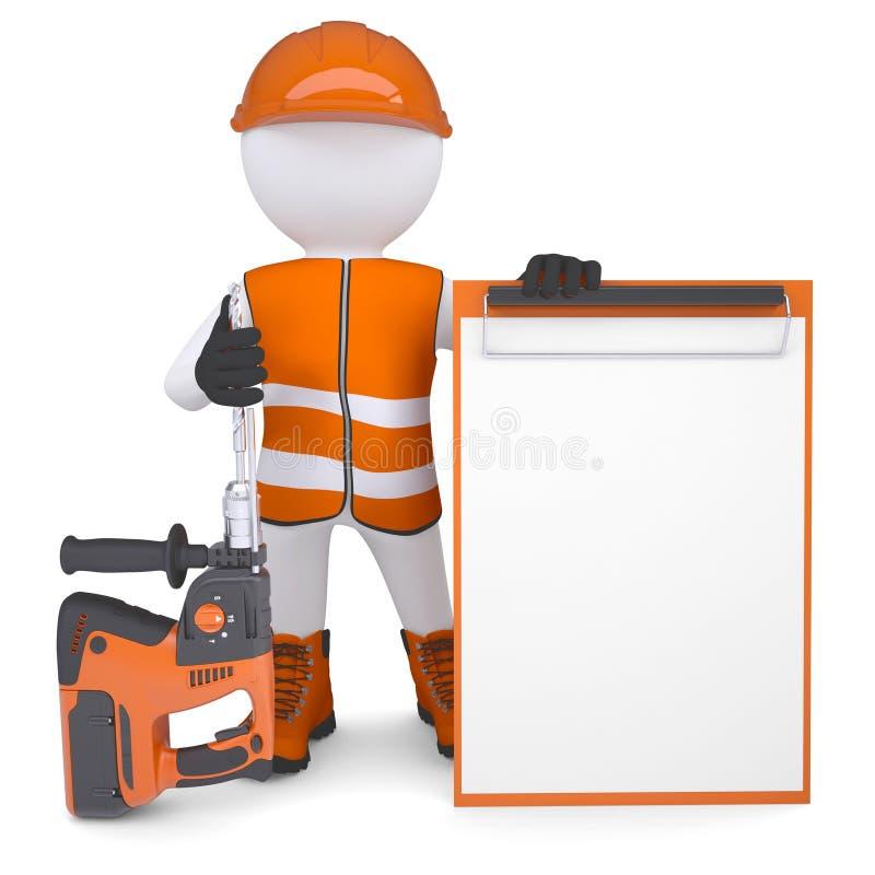Download 3d Man Holding Electric Perforator Stock Illustration - Image: 33950394