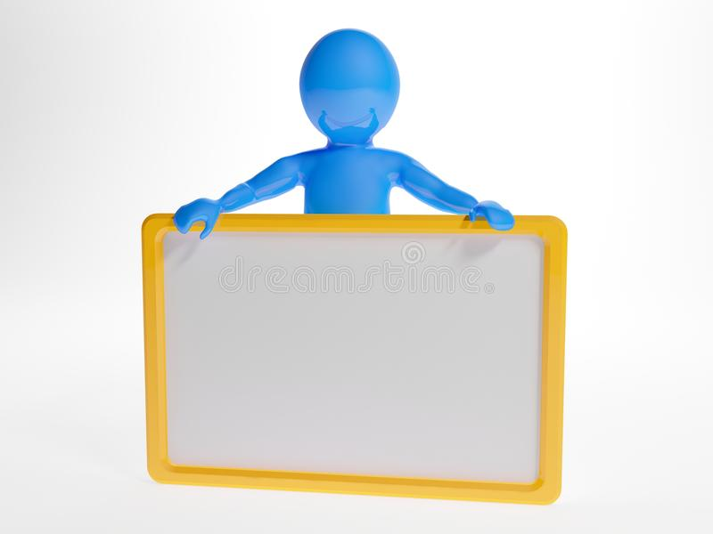 3d man holding an empty board stock illustration